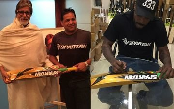 Chris Gayle gifts his gold bat to Amitabh Bachchan