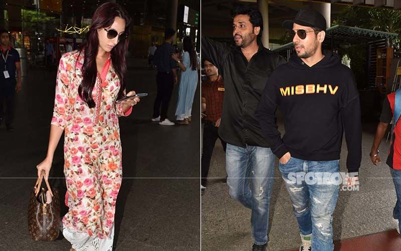 Sidharth Malhotra and Nora Fatehi Snapped At Airport As They Return from A Dehradun Wedding