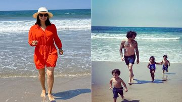 Sunny Leone Hits The Beach With Her Man Daniel Weber And Her Little Nuggets AKA Her Kids