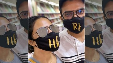 Hina Khan Is One Happy Girl, As She Meets Her Beau Rocky Jaiswal; Both Twinning In Masks With Initials