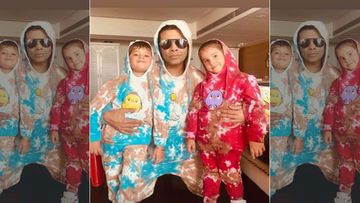 Karan Johar And His Kids Yash And Roohi Johar Twin In Funky Tie Dye Number As They Make A Splash On Social Media