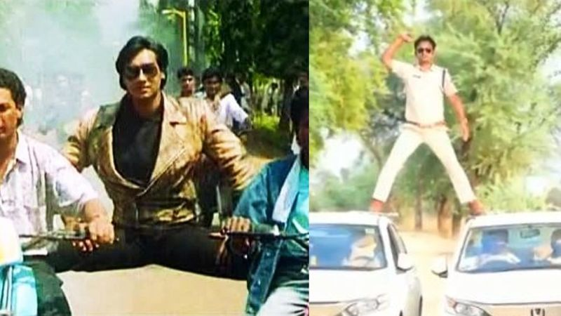 Madhya Pradesh-Based Cop Performs Ajay Devgn's Stunt From Phool Aur Kaante; Gets Slapped With A Fine Of Rs 5000 – VIDEO
