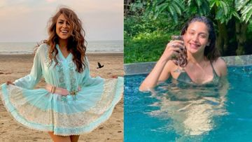 Naagins Nia Sharma And Surbhi Chandana Soak In Beach Vibes; Nia Enjoys The Music Of Waves While Surbhi Poses Sexily In Pool