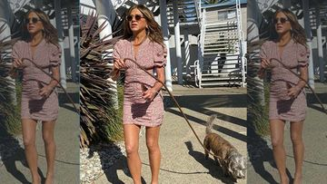 Jennifer Aniston Brings Her Furry Best Friend Clyde To Work, But It's Her Perfectly-Toned Legs That Caught Our Eyes