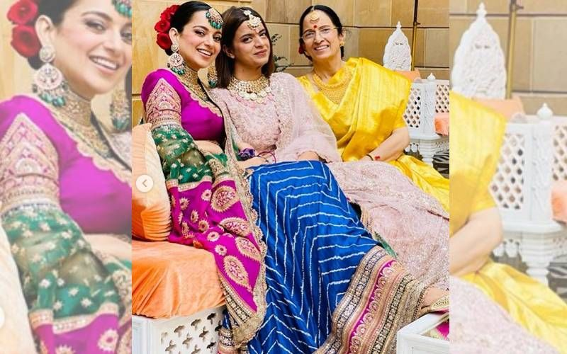 Kangana Ranaut Dons A Traditional Bandhani Lehenga That Took 14 Months To Make On Brother's Wedding; Cost Of Jewellery And Outfit Will Leave You Numb