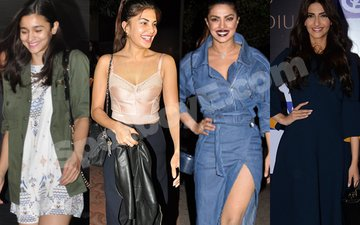 Alia And Jacqueline Go For The 'No Make-Up' Look; Priyanka And Sonam Doll-Up Loudly!