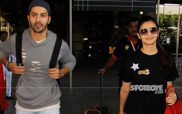 Alia Bhatt, Varun Dhawan Return From Singapore