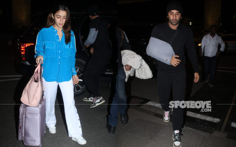 An Injured Ranbir Kapoor And His Girlfriend Alia Bhatt Zoom Off To An Unknown Destination - PICS HERE