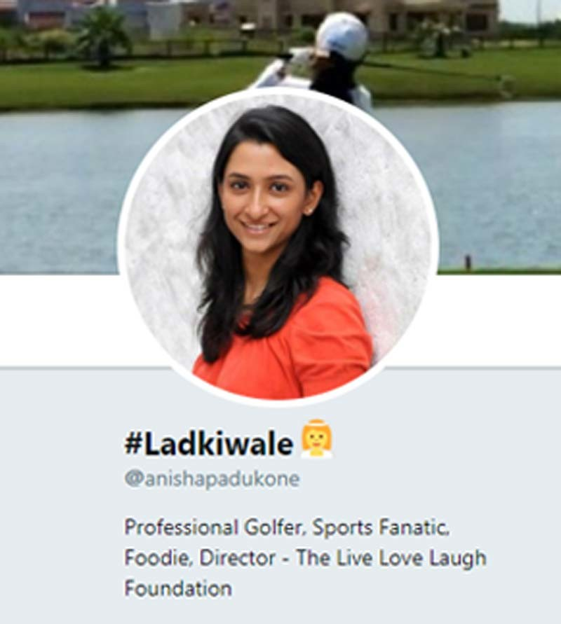Anisha Padukone Twitter Profile Page