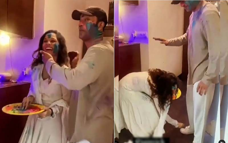 Holi 2021: Ankita Lokhande Dances Her Heart Out With BF Vicky Jain; Actress Charges Towards Him With A Water Gun, Smears Gulal On His Face- VIDEOS
