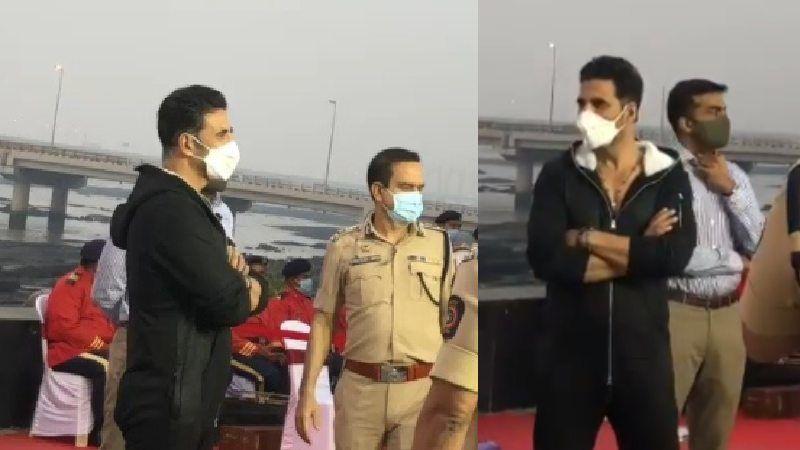 Akshay Kumar Marks His Attendance At An Event Launching Segways For Mumbai Police To Patrol Promenade In Worli - VIDEO