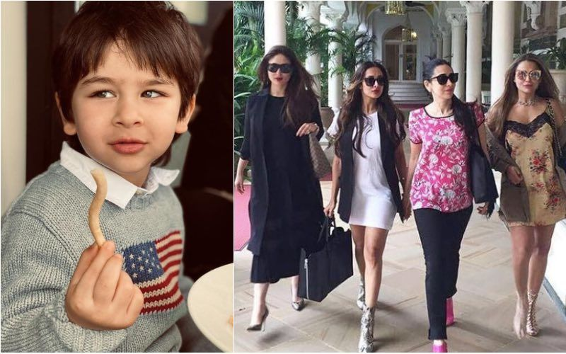 Candid Pic Of Taimur Ali Khan Pataudi Munching On A French Fry Gets The Most Amazing Reactions From Amrita Arora, Malaika Arora And Karisma Kapoor