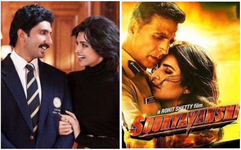 Ranveer Singh-Deepika Padukone's '83 To Release On Christmas; Akshay Kumar-Katrina Kaif's Sooryavanshi To Arrive In 2021 Post Theatres Reopen