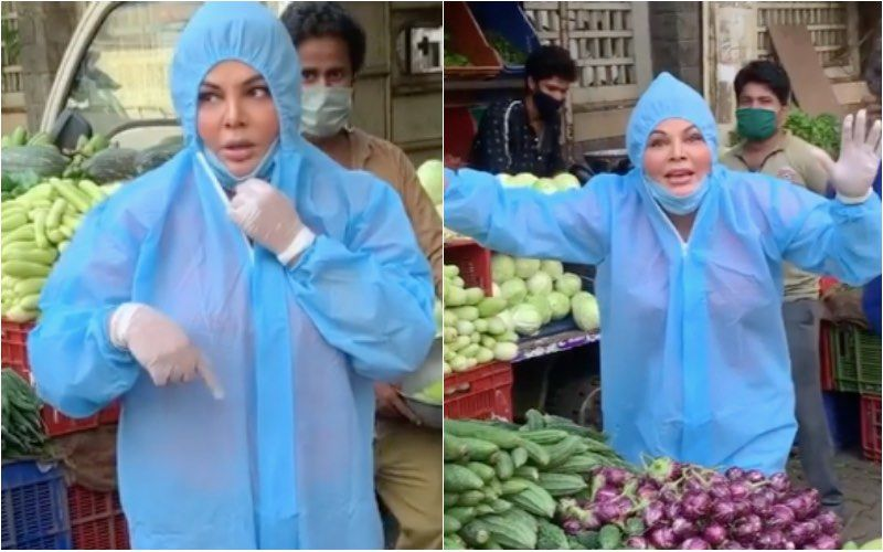 Rakhi Sawant Wears A PPE Suit To Buy Vegetables; Netizens Bash Her For Bargaining With Sellers; Say 'These People Are Not Rich As She Is' – VIDEO
