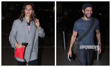 Farhan Akhtar And Ladylove Shibani Dandekar Take Off For A Vacation With Farhan's Daughter - First Pics