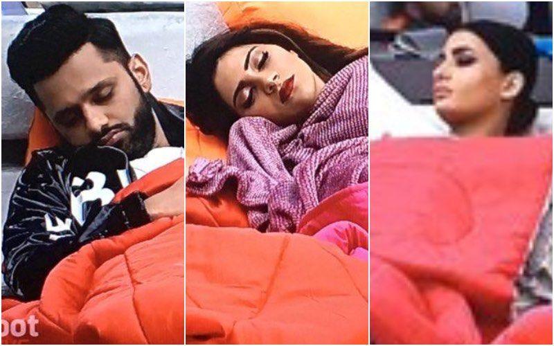 Bigg Boss 14 Weekend Ka Vaar: Pavitra Punia, Nikki Tamboli, Rahul Vaidya Take A Quick Nap All Glammed Up While Waiting For The Shoot To Begin