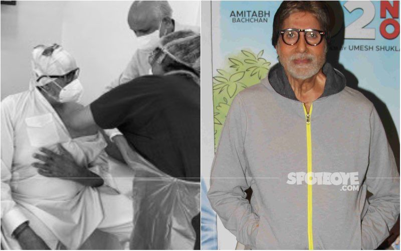 Amitabh Bachchan Posts A Pic Getting His COVID-19 Vaccine Jab; Reveals His Whole Family Has Got It Except Abhishek Bachchan