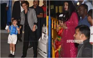 Aaradhya Bachchan And Abram Are All Dolled Up For Annual Day Function; Aishwarya Rai Bachchan And SRK Spotted