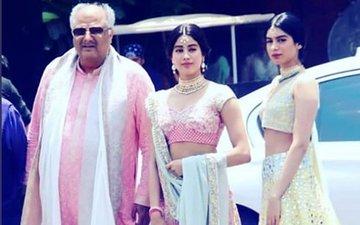 सोनम की शादी: पिता और बहन के साथ पहुंची जान्हवी कपूर