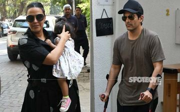 Angad Bedi Heads Out With Supports Post Knee Surgery; Neha Dhupia And Daughter Mehr Give Him Company