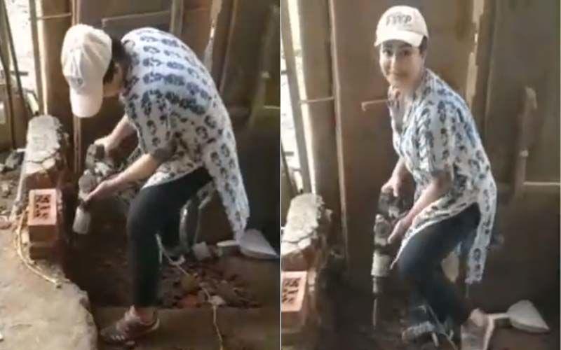 Bigg Boss 11 Winner Shilpa Shinde Shares Video With A Drill Machine; Says, 'Lockdown Hua To Main Construction Field Mein Ghus Gayi'