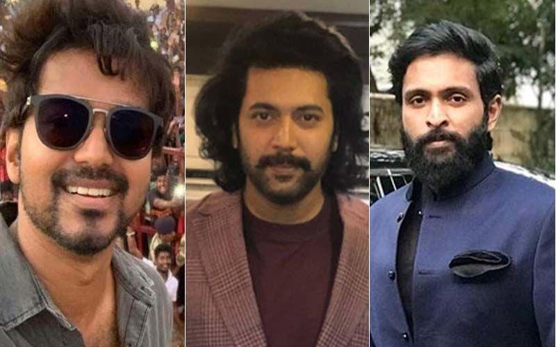 Thalapathy Vijay Meets Jayrama Ravi And Vikram Prabhu At A Recent Kollywood Event