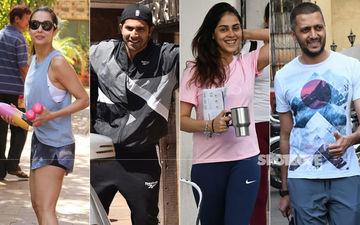 Gym Diaries: Varun Dhawan, Riteish Deshmukh- Genelia D'Souza, Malaika Arora Pose Post Workout Sesh-PICS