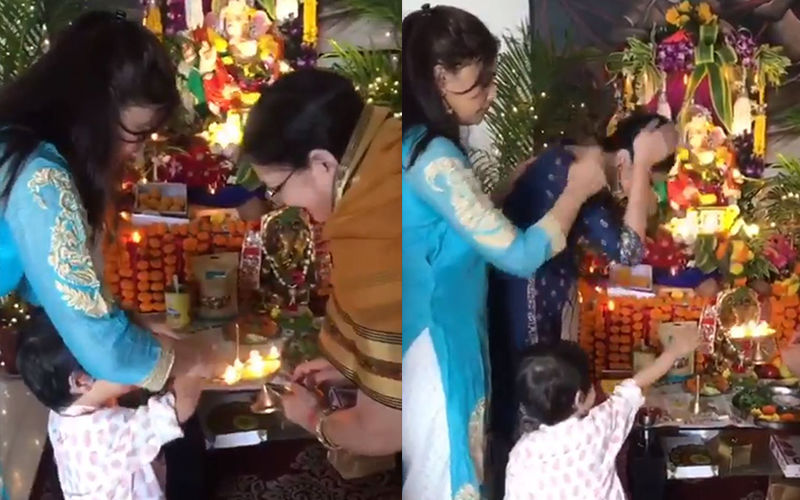Shweta Tiwari's Video With Son Reyansh And Daughter Palak Tiwari Seeking Blessings Of Ganpati Bappa Will Melt Your Heart, Watch Video