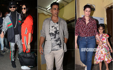 Celeb Spottings: Ranveer-Deepika Spread Smiles At The Airport, Akshay Kumar Goes For A Movie Date With Family