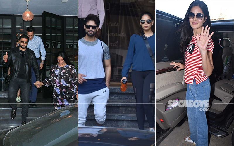 Celeb Spottings: Ranveer Singh Chills With Parents, Shahid Kapoor-Mira Rajput Workout Together, Katrina Kaif Papped Solo