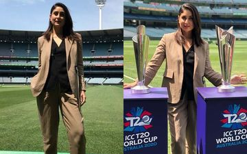 Saif Ali Khan Babysits Taimur As Kareena Kapoor Khan Yields The Bat At The Melbourne Cricket Ground In A Beige Power Suit