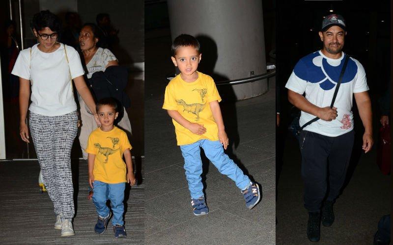 Aamir, Kiran, Azad Return To Mumbai After A Fun Vacation At Disneyland