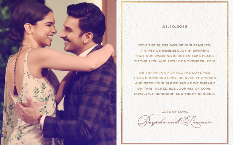 Here Is Ranveer Singh-Deepika Padukone's Official Wedding Announcement. Lock The Dates – November 14 And 15!
