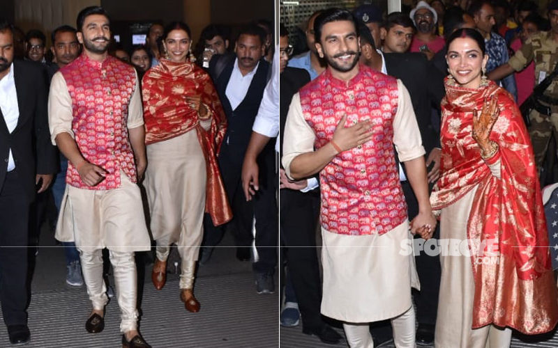 Beaming Deepika Padukone And Ranveer Singh Return To Mumbai Hand-In-Hand. Welcome Back, Guys!