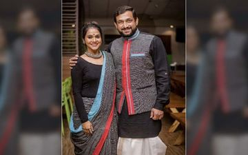 'Dhurala' Star Prasad Oak And Wife Manjiri Twinning In Gamcha Print Outfits For The Premiere