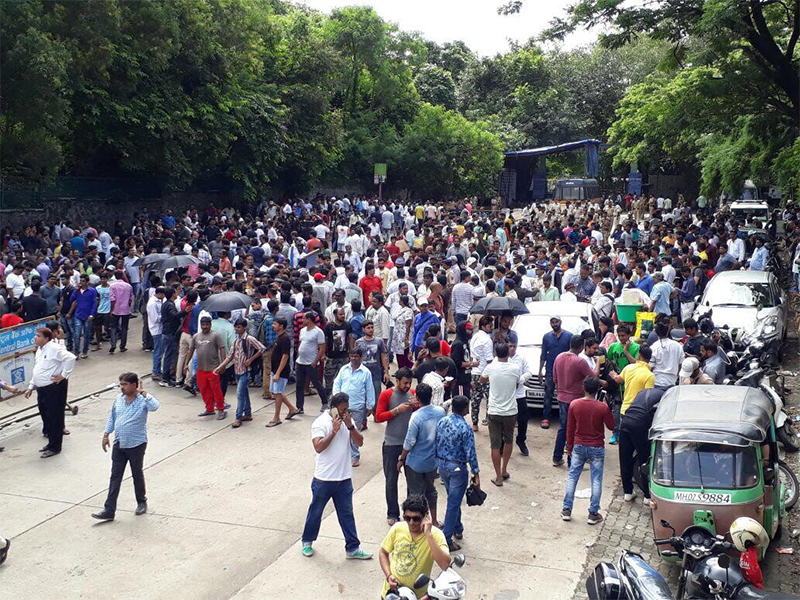 FWICE protest outside the main gate of goregaon filmcity