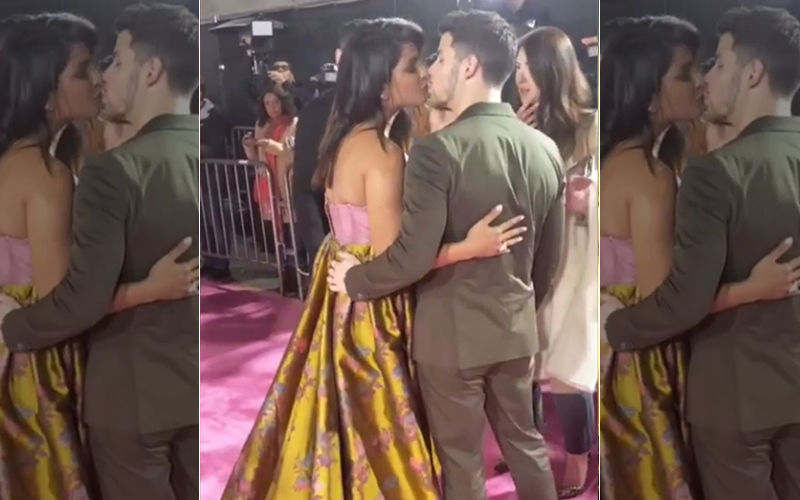 Priyanka Chopra And Nick Jonas Steal A Kiss At Isn't It Romantic Premiere In LA