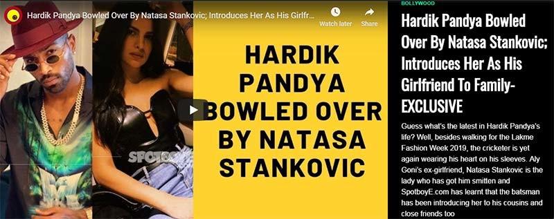 Hardik Pandya Natasa Stankovic