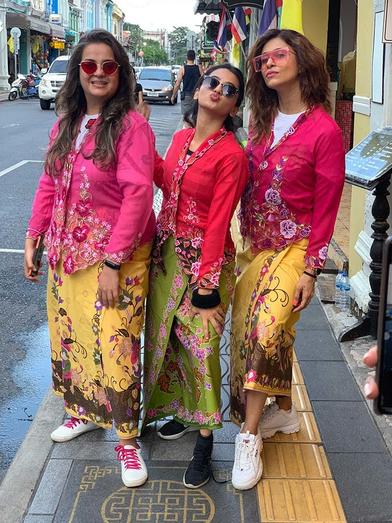 Helly  Kishwer with a friend in Traditional Attire in Phuket