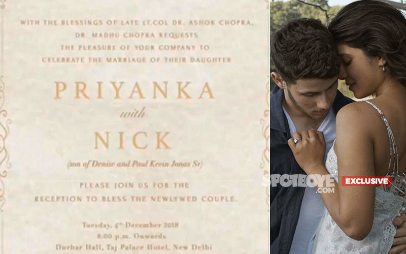 Here's Priyanka Chopra-Nick Jonas' Tonight's Delhi Reception Invitation Card