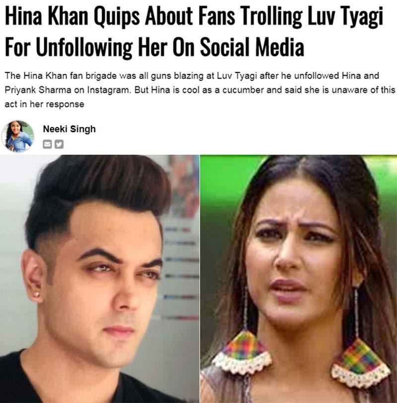 Hina Khan Luv Tyagi