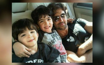 Caught! Hrithik Watching A Film With His Kids