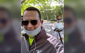 Jennifer Lopez And Fiancé Alex Rodriguez Go On A Bike Ride As They Twin In Face Masks, Oozing Major Couple Goals