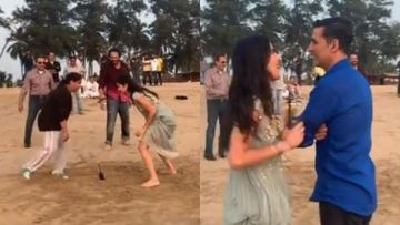 Sooryavanshi BTS: Katrina Kaif And Akshay Kumar Have A BLAST; Play Dog And The Bone On The Beach – VIDEO