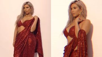 Valentine's Day 2020: Kim Kardashian Sizzles In A Red Hot Sabyasachi Saree, Puts Dangerously Sexy Blouse On Display - TB