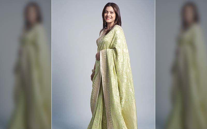 Kajol Looks Out Of This World In This Lemon Benarasi Silk Saree