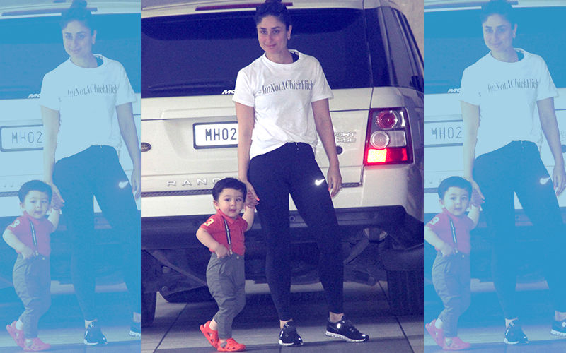 Taimur Rocks Suspenders As He & Mom Kareena Kapoor Visit Babita's House