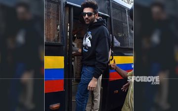 Kartik Aaryan's Madness Goes A Notch Higher; Actor Climbs A Police Van To Pose For Paps - PICS