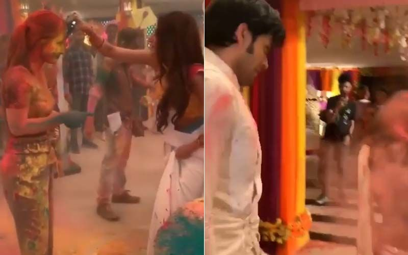 Holi Celebrations On-The-Sets Of Kasautii Zindagii Kay 2: Hina Khan-Erica Fernandes-Parth Samthaan Soak Each Other In Colours- Watch Videos