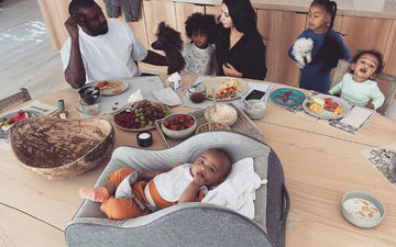 Kim Kardashian Posts A Pic Of Morning Madness Dining With Kanye And Kids; Khloe Kardashian Calls It 'Bliss'